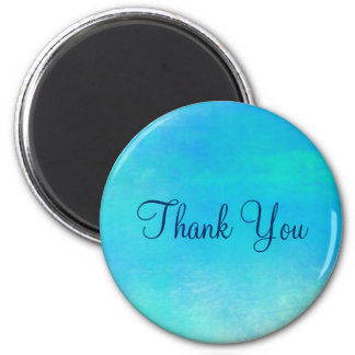 Watercolor Abstract In Aqua Green and Blue Thanks 2 Inch Round Magnet