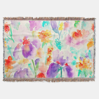 Watercolor Abstract Iris Throw Rug