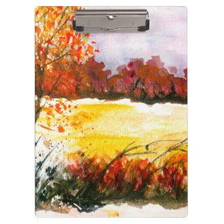 Watercolor Abstract Landscape Art Autumn Trees Clipboard