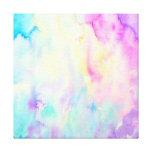 Watercolor abstract Landscape blue purple canvas