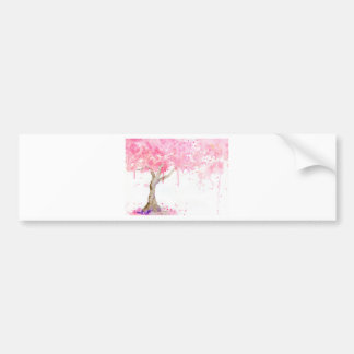 Watercolor abstract pink tree, cherry tree bumper sticker