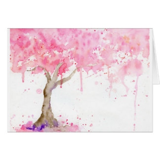 Watercolor abstract pink tree, cherry tree card