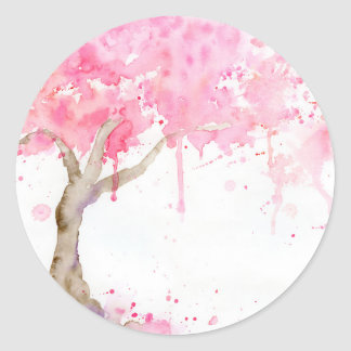Watercolor abstract pink tree, cherry tree classic round sticker