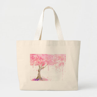 Watercolor abstract pink tree, cherry tree large tote bag