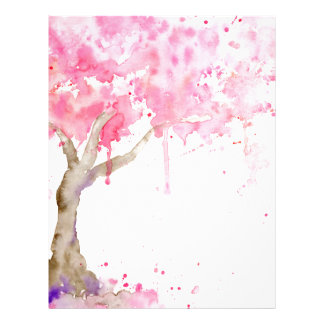 Watercolor abstract pink tree, cherry tree letterhead