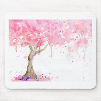 Watercolor abstract pink tree, cherry tree mouse pad
