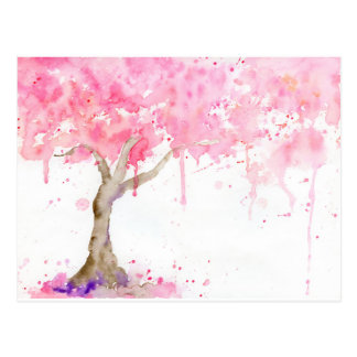 Watercolor abstract pink tree, cherry tree postcard