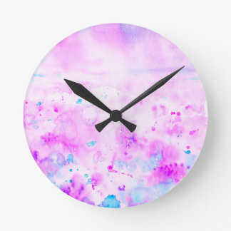 Watercolor Abstract Purple Meadow Round Clock