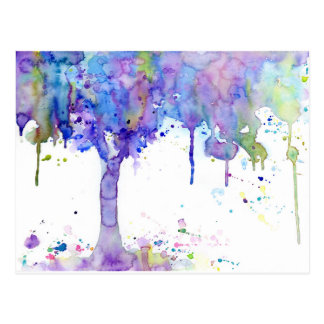 Watercolor Abstract Purple Tree Canopy Postcard