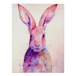 Watercolor Abstract Rabbit Hare Poster