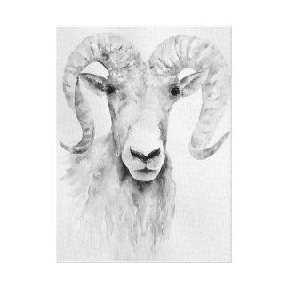 Watercolor Abstract Ram Portrait Print