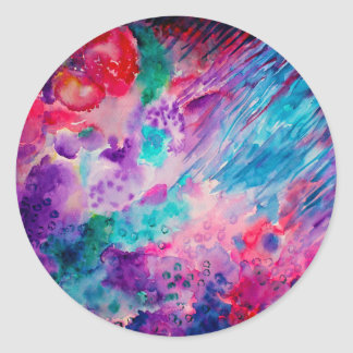 Watercolor Abstract Sea Classic Round Sticker