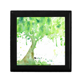 Watercolor abstract spring tree, green tree canopy gift box