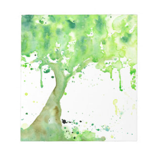 Watercolor abstract spring tree, green tree canopy notepads