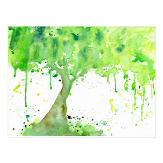 Watercolor abstract spring tree, green tree canopy postcard