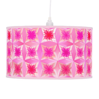 Watercolor Abstract Stars, Fuchsia and Coral Pink Pendant Lamp