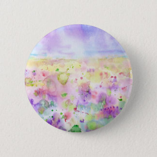 Watercolor abstract wildflower meadow painting 2 inch round button