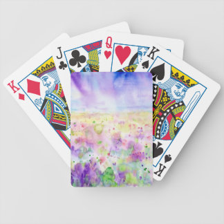 Watercolor abstract wildflower meadow painting bicycle playing cards