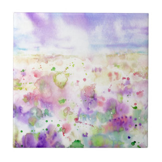 Watercolor abstract wildflower meadow painting ceramic tiles