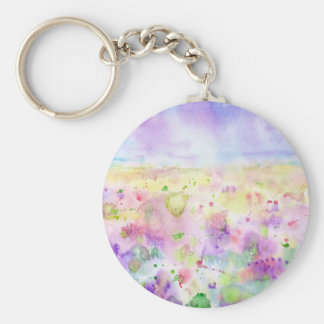 Watercolor abstract wildflower meadow painting keychain