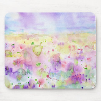 Watercolor abstract wildflower meadow painting mouse pad