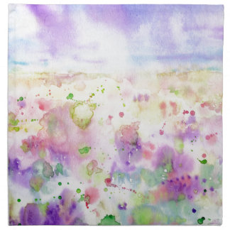 Watercolor abstract wildflower meadow painting napkin
