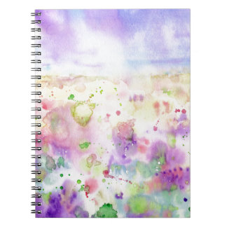 Watercolor abstract wildflower meadow painting notebook
