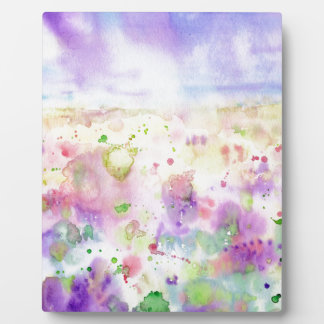 Watercolor abstract wildflower meadow painting plaque