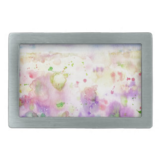 Watercolor abstract wildflower meadow painting rectangular belt buckle