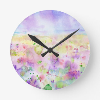 Watercolor abstract wildflower meadow painting round clock