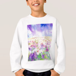 Watercolor abstract wildflower meadow painting sweatshirt