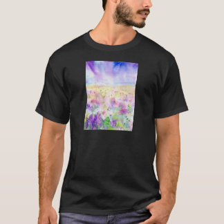 Watercolor abstract wildflower meadow painting T-Shirt