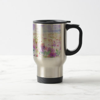 Watercolor abstract wildflower meadow painting travel mug