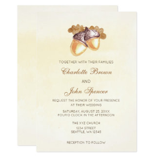 watercolor acorns oak leaves fall wedding card