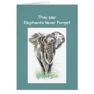 Watercolor African Elephant Animal Nature Art Card