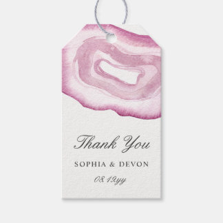 Watercolor Agate Wedding Gift Tags | Mauve Pink