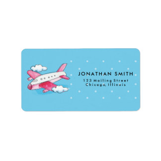 Watercolor Airplane Travel Label