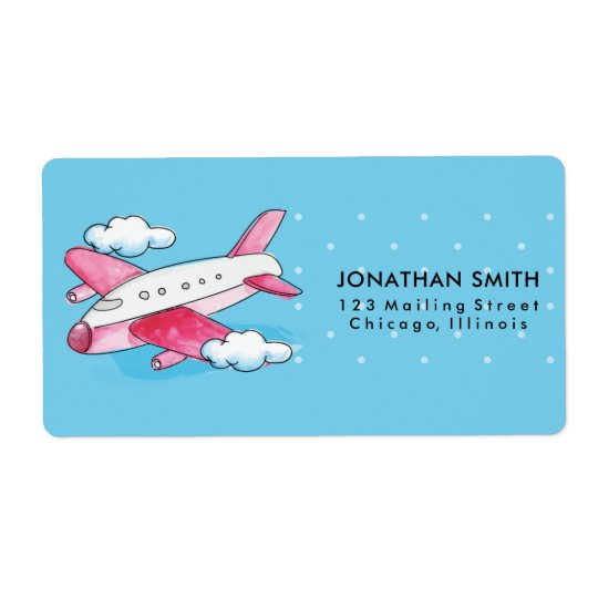 Watercolor Airplane Travel Shipping Label