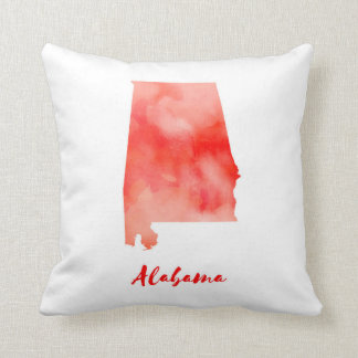 Watercolor Alabama United States Throw Pillow