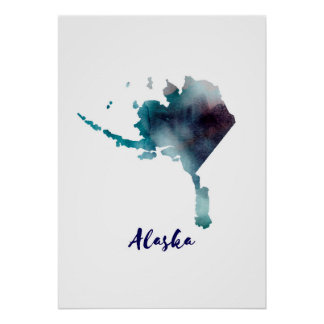 Watercolor Alaska United States Poster