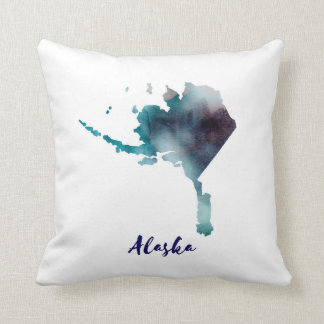 Watercolor Alaska United States Throw Pillow
