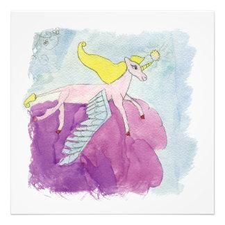 Watercolor Alicorn Pony Winged Horse Photo Print