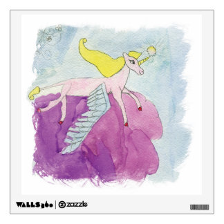 Watercolor Alicorn Pony Winged Horse Wall Sticker
