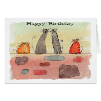 Watercolor Alley Cats Birthday Card