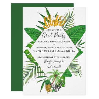 Watercolor Aloha Luau Graduation Party Card