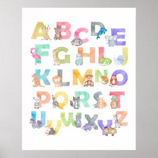 Watercolor Alphabet Animals Poster