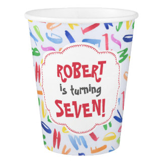 Watercolor alphabet custom kids birthday paper cup