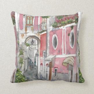 Watercolor Amalfi Coast Hotel Palumbo Pillow