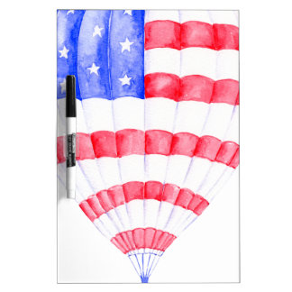 Watercolor American Flag Air Balloon Dry Erase Board