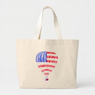 Watercolor American Flag Air Balloon Large Tote Bag